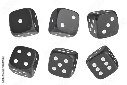 3d rendering of a set of six black dice with white dots hanging in half turn showing different numbers Fototapete