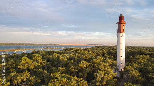 Bassin d'Arcachon, Cap Ferret lighthouse with Pyla dune in the background Canvas Print