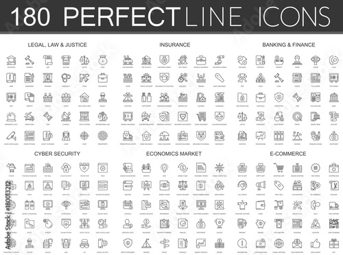 Fotografie, Obraz  180 modern thin line icons set of legal, law and justice, insurance, banking finance, cyber security, economics market, e commerce