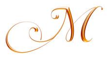 Golden Classic Alphabet, 3d Rendering, Letter M