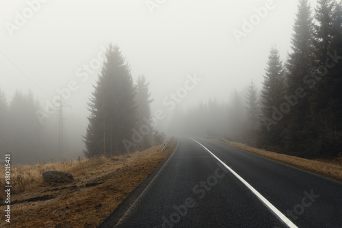 neblige Straße im Erzgebirge