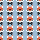 Cute cartoon foxes, Vector seamless pattern with foxes faces in glasses and bow-ties - 180017472