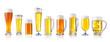 Leinwanddruck Bild - various types of fresh beer in glasses isolated on white