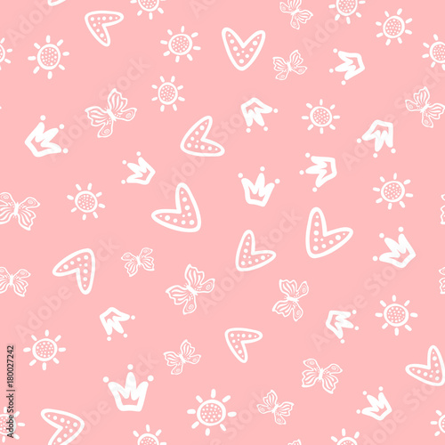 Sun, butterflies, hearts and crowns drawn by hand Wallpaper Mural