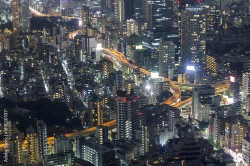 Spoed Foto op Canvas Tokyo Tokyo skyline at night
