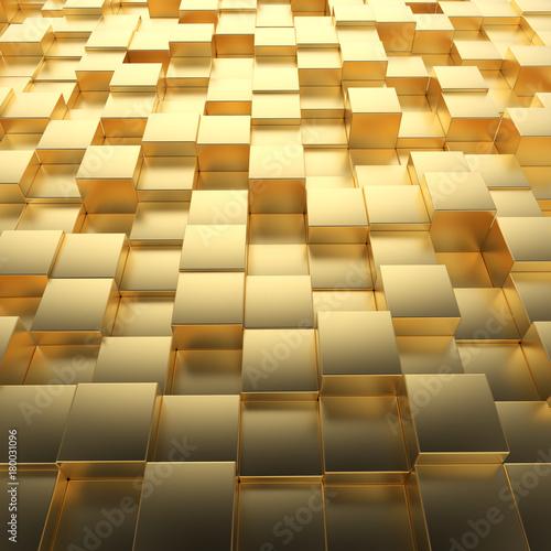 Fototapeta Gold cubes digital business background