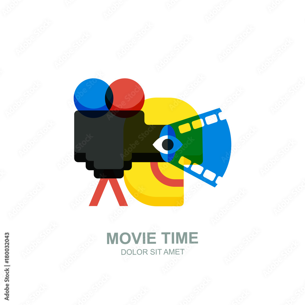 Vector isolated flat illustration of smiling abstract man, movie camera with film spotlight. Creative logo icon design. Concept for home movie time, media and watching video tv.