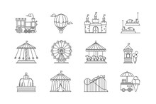 Set Of Linear Park Icons Vecto...
