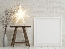 Mock Up Poster Christmas Decoration, Wooden Chair And Stars, 3d Render, 3d Illustration