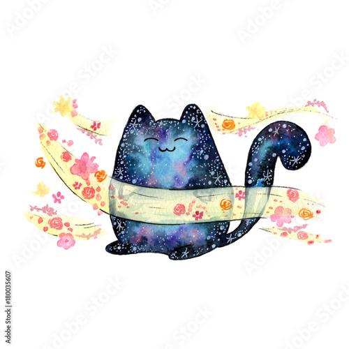 akwarela-kosmiczny-kot-kawaii-zwierzece-kwiatowy-wiatr-zapach-zapach-aroma