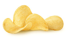 Isolated Chips. Group Of Potat...