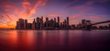 Fototapeta Nowy Jork - Sunset view of the island of Manhattan from Brooklyn
