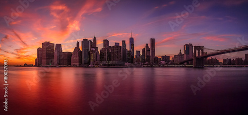 Sunset view of the island of Manhattan from Brooklyn Canvas Print