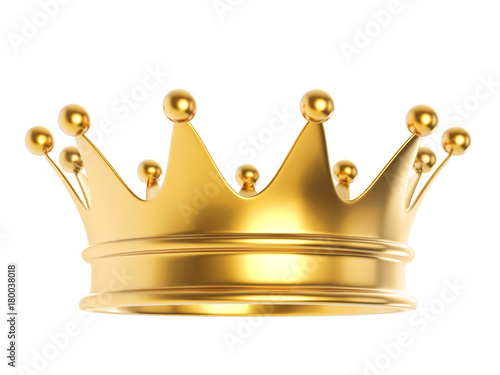 Shiny gold crown isolated on white background. Tableau sur Toile