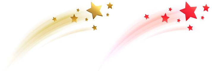 Sternschnuppe, Sterne mit Schweif Set - Rot / Gold