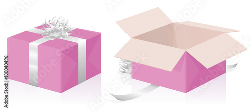 Valokuva  Valentine gift package - closed and opened pink present carton box with silver ribbons - isolated 3d vector illustration on white background