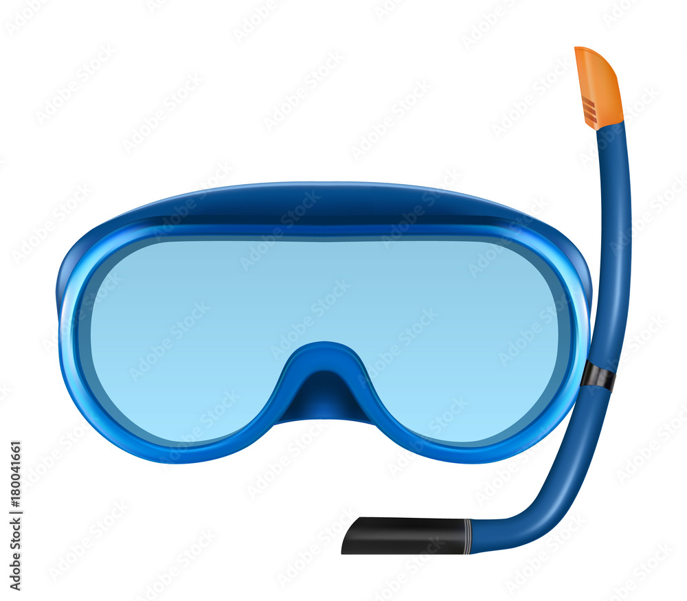 Fototapeta Blue diving or snorkel mask with tube.