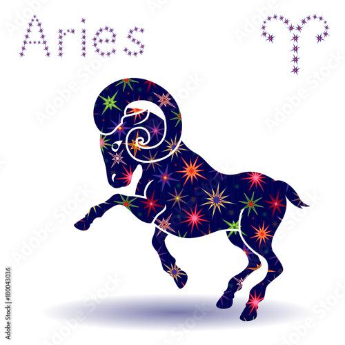 Zodiac sign Aries stencil Canvas Print