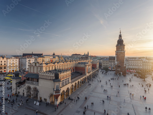 Fototapeta Aerial view of old city center view in Krakow at sunset time, famous cathedral in evening light obraz