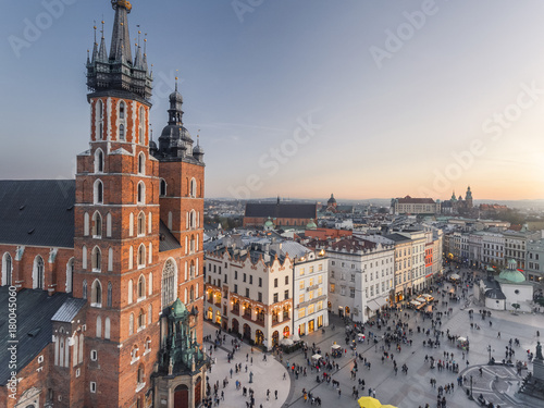 Obraz Aerial view of old city center view in Krakow at sunset time, main square, famous cathedral in evening light - fototapety do salonu