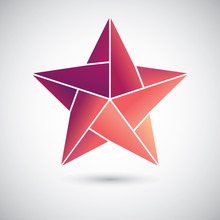 Colorful Origami Star On The Gray Background