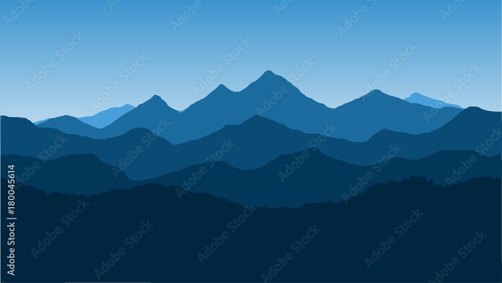 Fototapety, obrazy: Vector wallpaper with a landscape, a mountain range