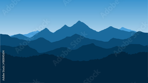 Fototapeta Vector wallpaper with a landscape, a mountain range obraz