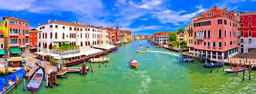 Aluminium Prints Venice Colorful Canal Grande in Venice panoramic view