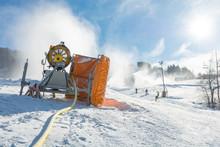 Ski Resort With Snow Gun Making New Surface.
