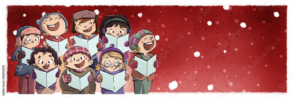 Photo & Art Print niños cantando en coro en navidad