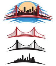 San Francisco Bay Golden Gate Bridge Vector Illustration Pack