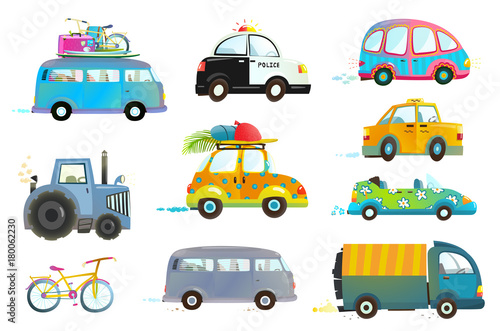 Tuinposter Cartoon cars Transportation vehicles collection isolated objects. Vector illustration.