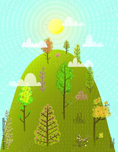 Fotobehang Lichtblauw Colorful scenery season landscape background. Vector illustration.
