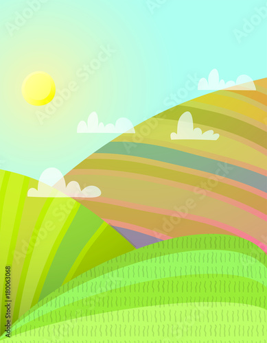 Foto op Aluminium Lichtblauw Countryside cartoon landscape with agriculture fields. Vector illustration.