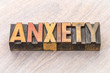 anxiety word abstract in wood type