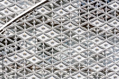 Zdjęcie XXL Abstrakt zamknięty nowożytny zewnętrzny architektoniczny metal ściany wzoru tło.