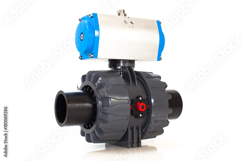 Automated plasticvalve on isolated background Wallpaper Mural