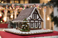Christmas Composition With Gingerbread House