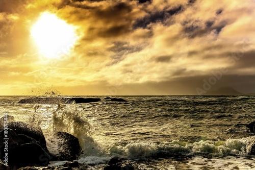 Tuinposter Zwavel geel Serene New Zealand Seascape