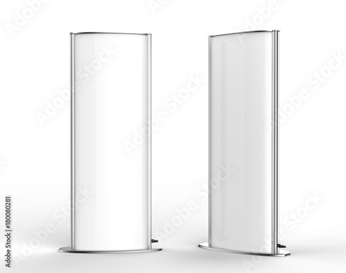 Curved double sided totem poster light advertising display stand. 3d render illustration. Fototapete
