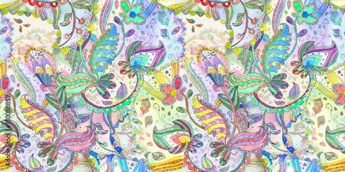 Materiał do szycia kolorowe tekstura z wzorcem fantasy. akwarela malarstwo
