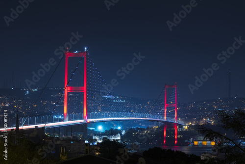 Istanbul Bosphorus Bridge at night Canvas Print