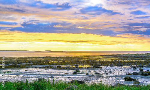 Serene Scandinavian white nights landscape seascape at sunset