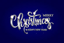 Merry Christmas Hand Drawn Silver Lettering Text