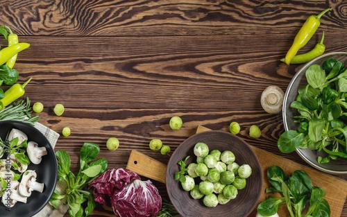 Fotografie, Obraz  Variety of organic fresh vegetables on wooden background