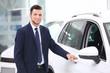 Car salesman in dealership