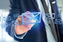 Blue Email Symbol Displayed On A Color Background - 3D Rendering