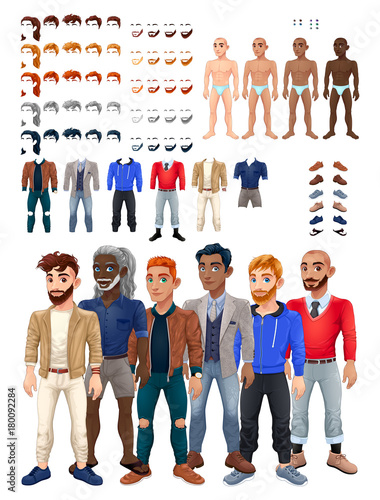Poster Kinderkamer Dresses and hairstyles game with male avatar
