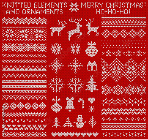 Fotografie, Obraz  Knitted elements and borders for Christmas, New Year or winter design