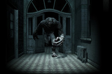 3d Illustration Of Monster Creature In Haunted House